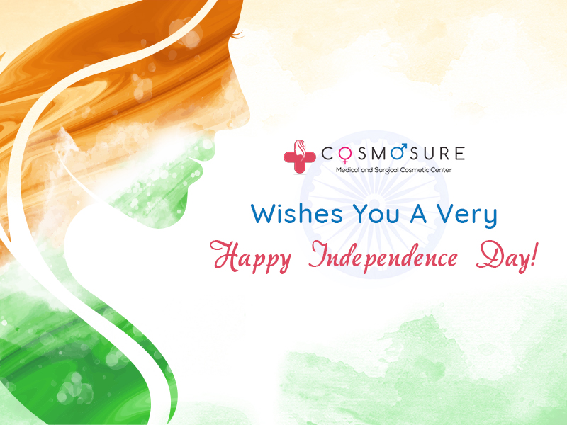 Independence Day wishes at Cosmosure skin Clinic, one of the best clinic for skin and hair care hospital in Hyderabad