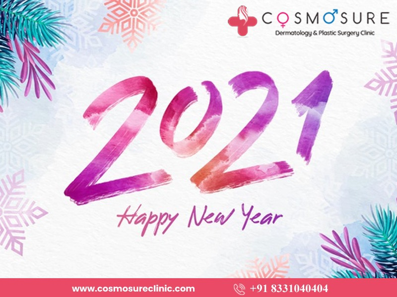 Happy New Year Wishes by Cosmosure Clinic, One of the best Skin Specialty Hospitals in Hyderabad