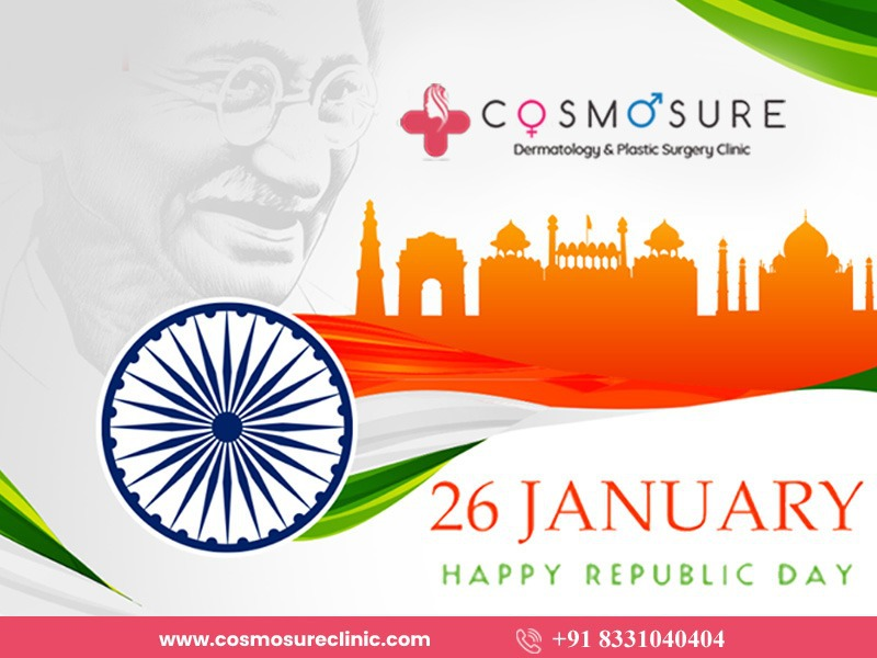 Happy Republic day wishes by Cosmosure clinic, One of the best dermatology center in Hyderabad